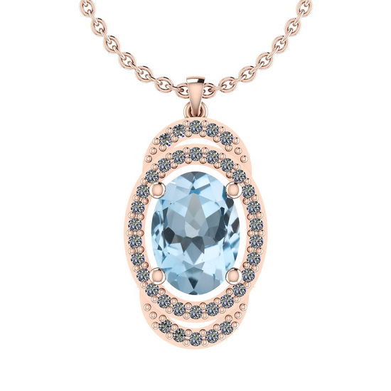 30.08 Ctw I2/I3 Blue Topaz And Diamond 14K Rose Gold Necklace