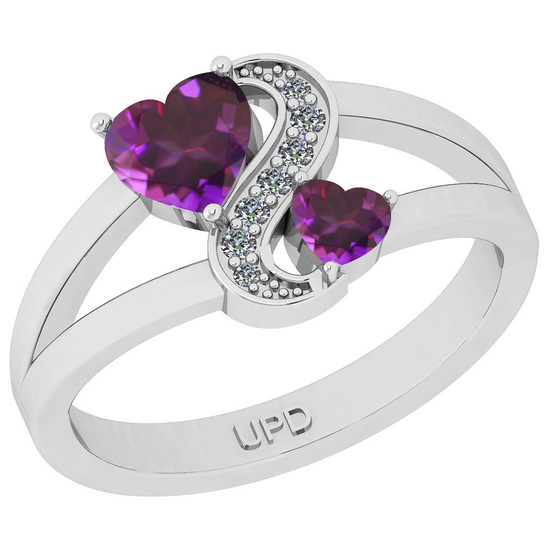 0.79 Ctw I2/I3 Amethyst And Diamond 10K White Gold Cocktail Ring