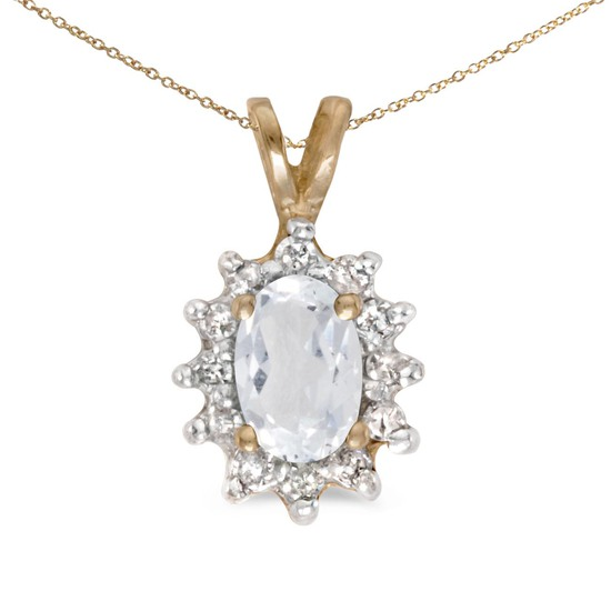 Certified 14k Yellow Gold Oval White Topaz And Diamond Pendant