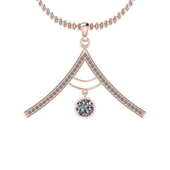 0.72 Ctw SI2/I1 Diamond Platinum 14K Rose Gold Plated Pendant