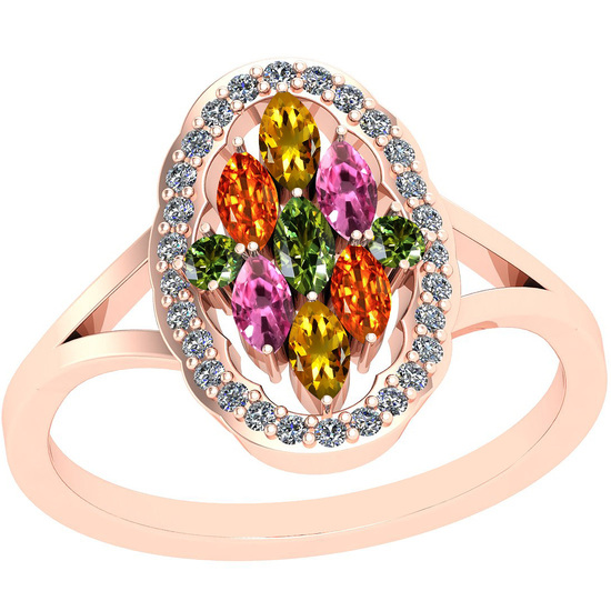 0.91 Ctw VS/SI1 Multi Sapphire And Diamond 14k Rose Gold Ring