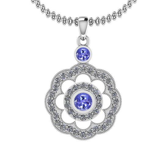 1.03 Ctw VS/SI1 Tanzanite And Diamond 14K White Gold Pendant Necklace