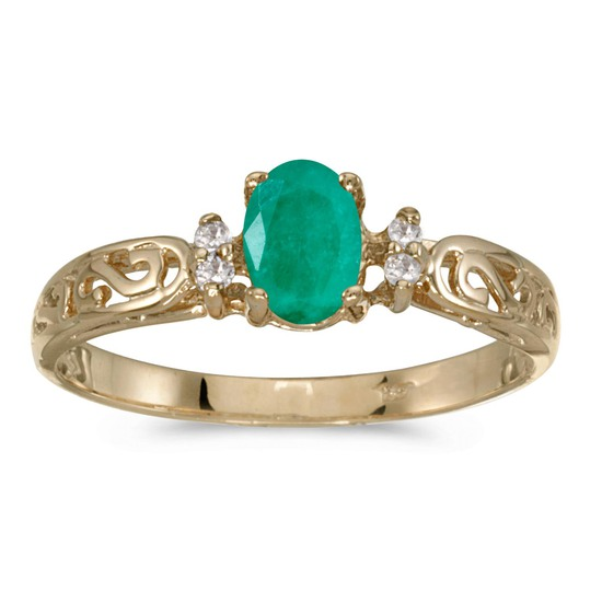 10k Yellow Gold Oval Emerald And Diamond Ring 0.35 CTW