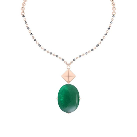 68.05 Ctw VS/SI1 Emerald And Diamond 14k Rose Gold Victorian Style Necklace