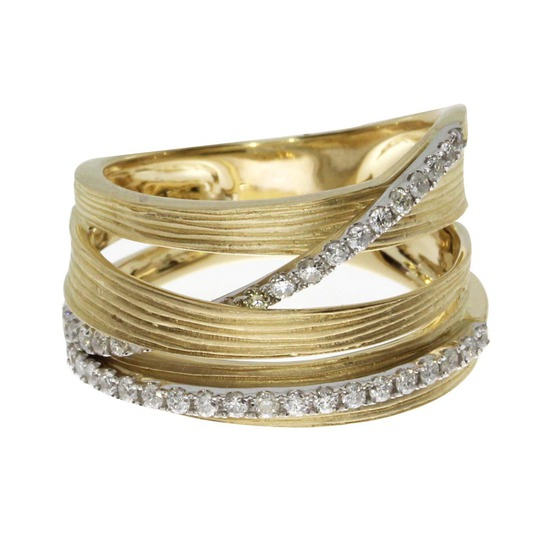 14k Yellow Gold Brushed Wide Diamond Ring 0.43 CTW