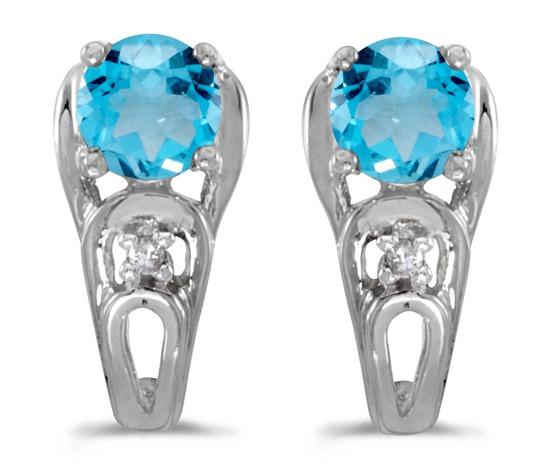 14k White Gold Round Blue Topaz And Diamond Earrings 0.89 CTW