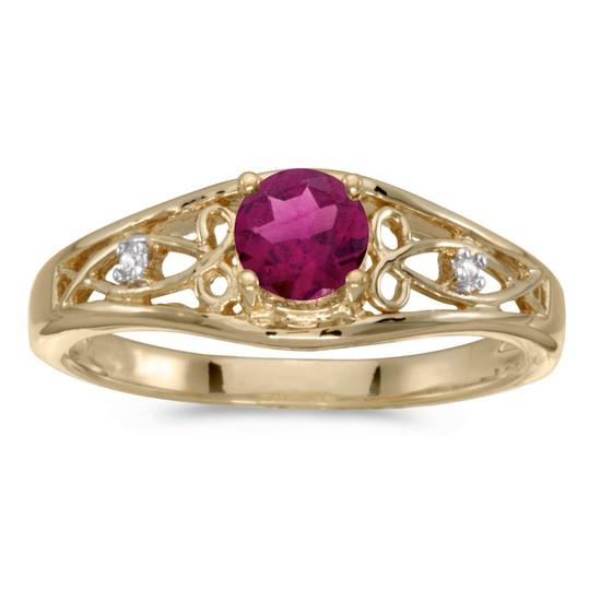 14k Yellow Gold Round Rhodolite Garnet And Diamond Ring 0.43 CTW