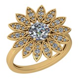 1.29 Ctw VS/SI1 Diamond 14K Yellow Gold Halo Ring