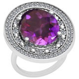 12.54 Ctw Amethyst And Diamond SI2/I1 14k White Gold Victorian Style Ring
