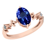 2.73 Ctw VS/SI1 Tanzanite And Diamond 14K Rose Gold Victorian Style Ring