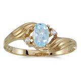10k Yellow Gold Oval Aquamarine And Diamond Ring 0.31 CTW