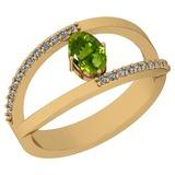 0.64 Ctw Peridot And Diamond I2/I3 10K Yellow Gold Vintage Style Ring