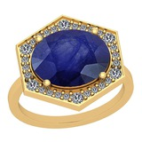 4.22 Ctw Blue Sapphire And Diamond I2/I3 14K Yellow Gold Vintage Style Ring