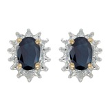 14k Yellow Gold Oval Sapphire And Diamond Earrings 0.82 CTW