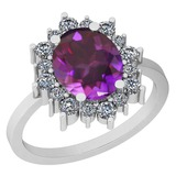 4.10 Ctw VS/SI1 Amethyst And Diamond 14k White Gold Victorian Style Ring