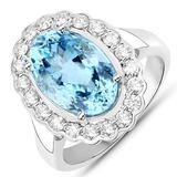 5.25 CTW Genuine Aquamarine and White Diamond 14K White Gold Ring