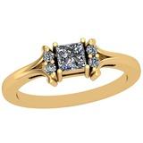 0.42 Ctw SI2/I1 Diamond Platinum 14K Yellow Gold Plated Ring