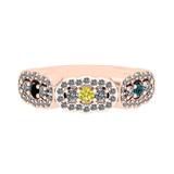0.73 Ctw I2/I3 Treated Fancy Multi Diamond 10K Rose Gold Vintage Style Bridal Wedding Band Ring