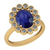 2.42 Ctw Blue Sapphire And Diamond I2/I3 14K Yellow Gold Vintage Style Ring