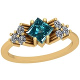 1.50 Ctw I2/I3 Treated Fancy Blue And White Diamond Platinum 14K Yellow Gold Plated Ring