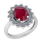 3.28 Ctw VS/SI1 Ruby And Diamond 14K White Gold Vintage Style Ring