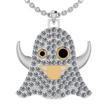 3.60 Ctw I2/I3 Treated Fancy Black And White Diamond 10K Two Tone Gold Ghost Pendant