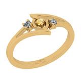 0.10 Ctw I2/I3 Citrine And Diamond 10K Yellow Gold three Stone Ring