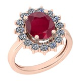 3.28 Ctw VS/SI1 Ruby And Diamond 14K Rose Gold Vintage Style Ring