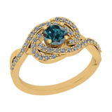 0.86 Ctw I2/I3 Treated Fancy Blue And White Diamond 14K Yellow Gold Cluster Bridal Wedding Ring