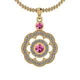 1.03 Ctw VS/SI1 Pink Sapphire And Diamond 14K Yellow Gold Pendant Necklace
