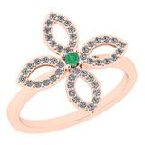 0.38 Ctw I2/I3 Emerald And Diamond 14K Rose Gold Ring