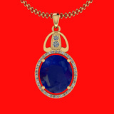 6.26 Ctw VS/SI1 Blue Sapphire And Diamond 14K Yellow Gold Necklace