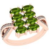 2.21 Ctw Peridot And Diamond I2/I3 14K Rose Gold Ring