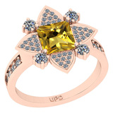 1.93 Ctw I2/I3 Citrine And Diamond 10K Rose Gold Engagement Ring