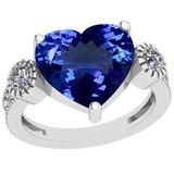 5.06 Ctw VS/SI1 Tanzanite And Diamond Platinum Ring