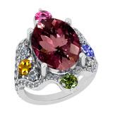 11.01 Ctw SI2/I1 Multi Sapphire,Pink Tourmaline And Diamond 14K White Gold Vingate Style Bridal Wedd