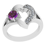 0.71 Ctw VS/SI1 Amethyst And Diamond 10K White Gold Vintage Ring
