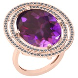 22.15 Ctw VS/SI1 Amethyst And Diamond 14k Rose Gold Victorian Style Ring