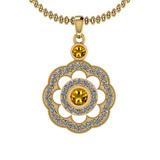 1.03 Ctw VS/SI1 Yellow Sapphire And Diamond 14K Yellow Gold Pendant Necklace