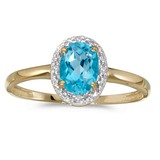 10k Yellow Gold Oval Blue Topaz And Diamond Ring 0.68 CTW