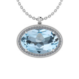 27.46 Ctw I2/I3 Blue Topaz And Diamond 14K White Gold Necklace