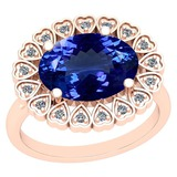 4.62 Ctw VS/SI1 Tanzanite And Diamond Platinum 14K Rose Gold Plated Vintage Style Ring