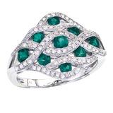 14k White Gold Flowing Emerald Diamond Ring 1.21 CTW