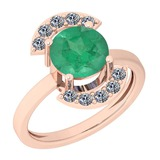 2.35 Ctw VS/SI1 Emerald And Diamond Platinum 14K Rose Gold Plated Ring