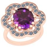 8.86 Ctw VS/SI1 Amethyst And Diamond 14k Rose Gold Victorian Style Ring