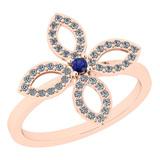 0.38 Ctw I2/I3 Blue Sapphire And Diamond 14K Rose Gold Ring
