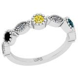 0.40 Ctw I2/I3 Treated Fancy Multi Diamond 14K White Gold Eternity Band Ring