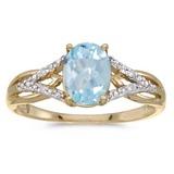 14k Yellow Gold Oval Aquamarine And Diamond Ring 0.9 CTW