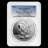 2020 Niue 1 oz Silver $2 Disney Mickey Christmas MS-70 PCGS (FD)
