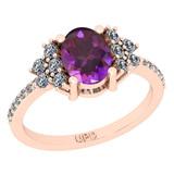 1.71 Ctw I2/I3 Amethyst And Diamond 10K Rose Gold Promises Ring